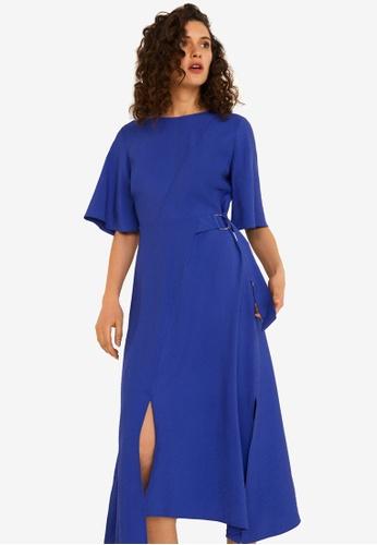 Mango 藍色 開叉洋裝 DE0D3AA7821258GS_1
