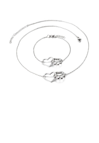 Glamorousky silver Fashion Simple Hollow Heart-shaped Cat Claw 316L Stainless Steel Necklace and Bracelet Set 6502DACC3AF5A4GS_1
