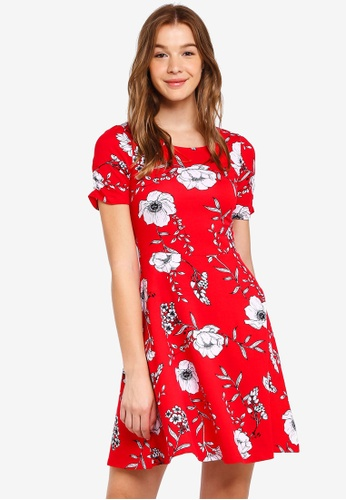 Dorothy Perkins red Red Floral Ruche Sleeve Dress 871E0AA5FE4407GS_1