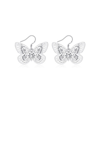 Glamorousky silver Creative Elegant Hollow Butterfly Earrings EB660AC24DFBB9GS_1