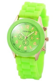 Geneva Nikka Women's Silicon Strap Watch (Apple Green)
