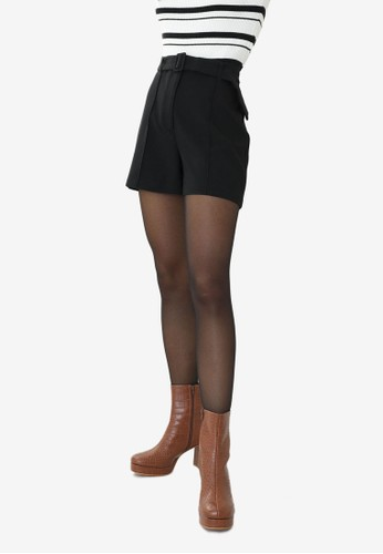 PIMKIE black Belted High Waist Tailored Shorts 26B85AAF958FE8GS_1