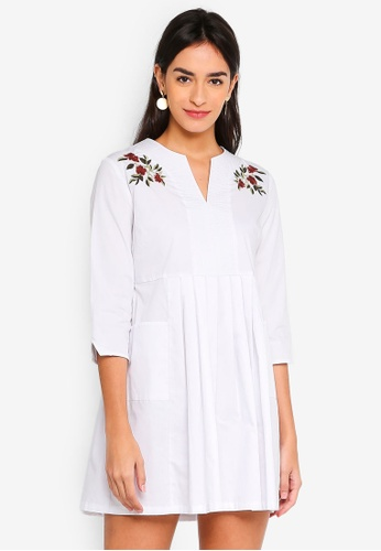 ZALORA white Babydoll Dress with Embroidery B1D6EAA873ABFCGS_1