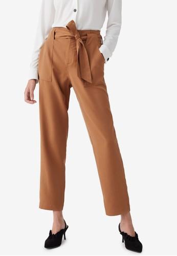 OVS brown Knotted Belt Trousers 9CBD7AA4DE4A48GS_1