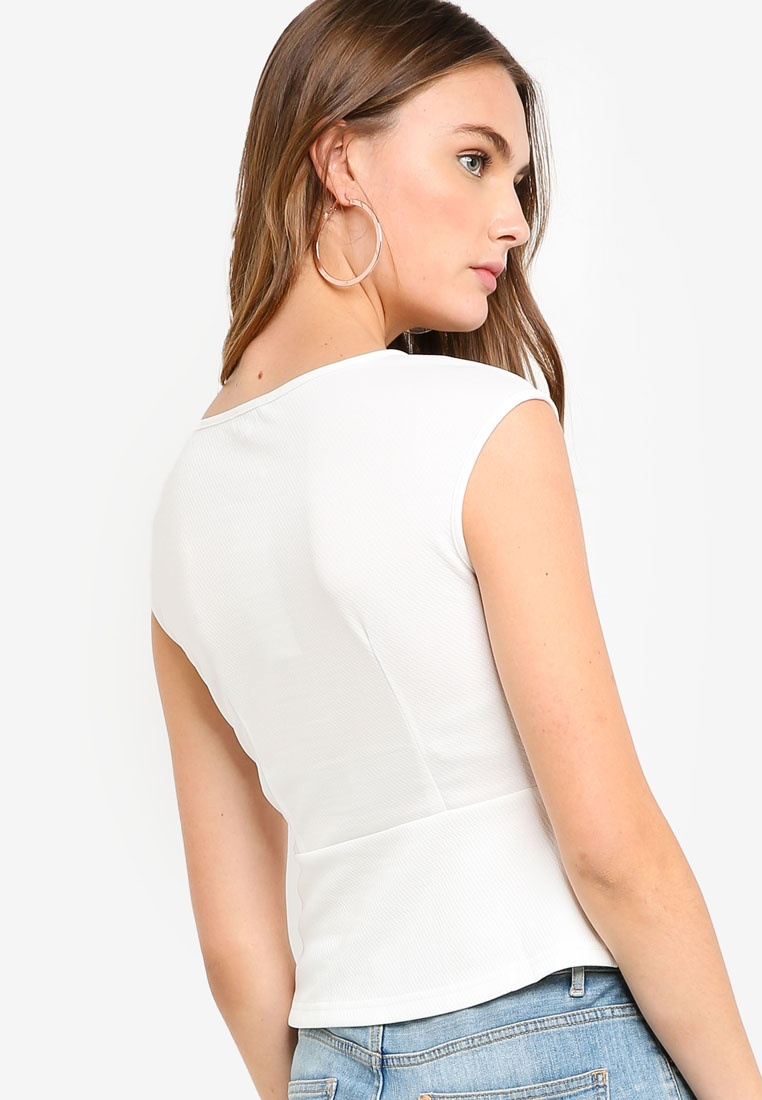 Basic ZALORA BASICS Top Cap White Peplum Sleeves zw65wRq