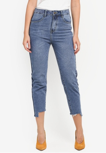 ZALORA blue Mom Fit Denim Jeans With Side Contrast 91F83AA0E15BB9GS_1