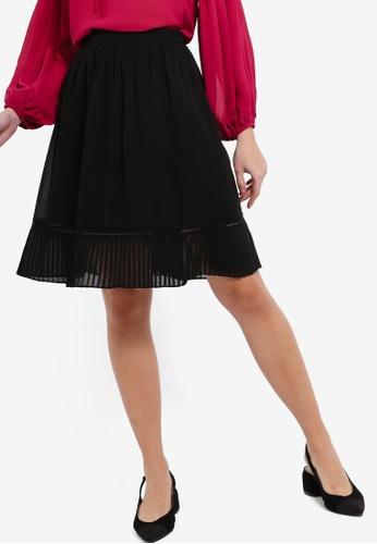ZALORA 黑色 褶飾下擺裙 3DCC4AA48A6769GS_1