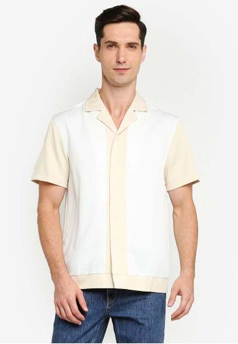 ZALORA BASICS multi Colour Block Revere Collar Shirt 738AFAAE88DCA7GS_1