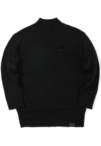 MUSIUM DIV black Appliqué drape hem sweater FE486AA6011BEFGS_1