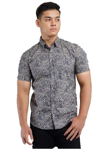 UA BOUTIQUE blue Short Sleeve Shirt Batik SSB117-041 (Blue/ Brown) 5E371AAD42E7A8GS_1