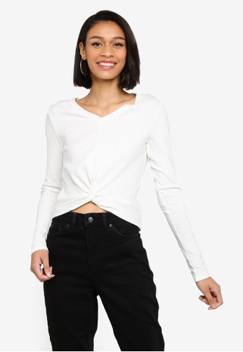 Joska Long Sleeve V-Neck Crop Top from Pieces in White