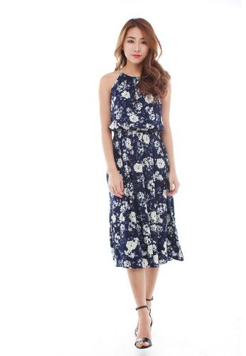 92117d25084c Sophialuv multi Nayda Halter Midi Dress in Blue Floral F21AFAAD98BC71GS 1