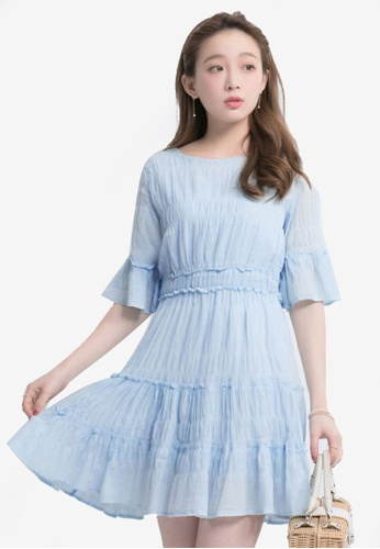Yoco blue Ruffles Crimp Dress 82ED7AABF40B31GS_1