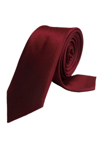 Well Suited red Microcheck Wine Slim Necktie 825C3ACD75556BGS_1