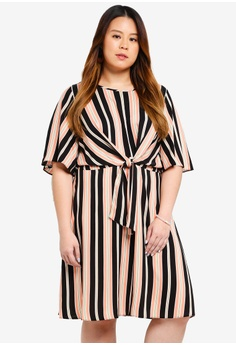 c8cf46cc41288 Dorothy Perkins pink Plus Size Pink Stripe Manipulated Dress  2A8A6AA07DEBAFGS 1