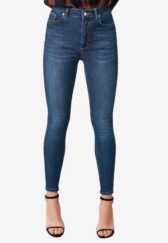 Trendyol navy Mid Wash High Waist Skinny Jeans 1451FAACEF622CGS_1