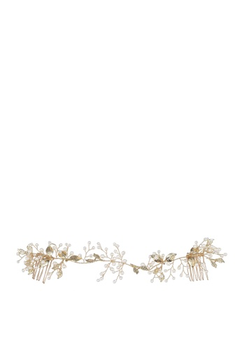 Saturation pink and gold Birch Leaf Hair Wreath FA39EAC90F1FD6GS_1