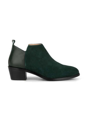 MAUD FRIZON green Suede And Calf Ankle Boots A5D81SH7ED193AGS_1