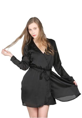 London Rag black Satin Black Wrap Dress 5D972AA2D786D6GS_1