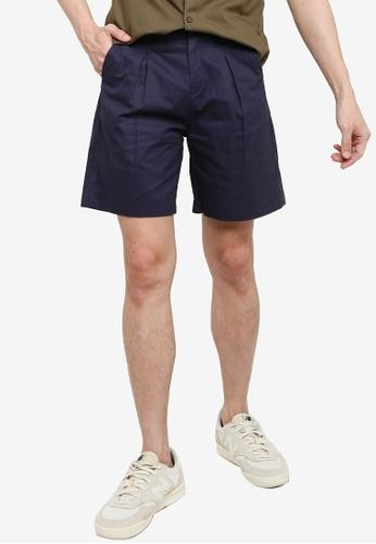 ZALORA BASICS 海軍藍色 Pleated Shorts 4D06AAAB6AE4BFGS_1