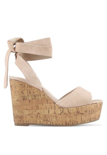 TOPSHOP beige Wicked Two Part Wedges TO412SH0S4I5MY_1