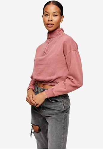 TOPSHOP pink Zip Neck Funnel Sweatshirt E1645AAE843364GS_1