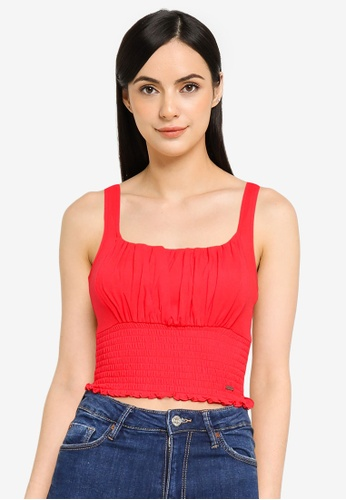 Hollister red Smocked Ruched Bust Top C5F33AA455DD5CGS_1