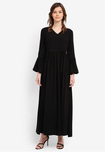 Zalia black Lace Trim Wrap Dress E9403AACF02515GS_1
