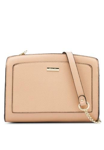 Mel&Co beige Faux Leather Front Pocket Sling Bag 83E75AC5527A5BGS_1