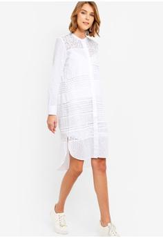 bb30beed756 Sizes 6 8 10 12 14 · French Connection white Celeste Lace Mix Button Down  Dress 67F22AA3E3E7ADGS 1