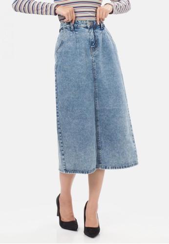 MKY CLOTHING blue Denim Span Skirt in Aqua ECCD3AAA0E96ADGS_1