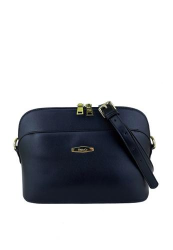 Mel&Co black Faux Leather Double Zipper Sling Bag B23ECAC7BBF452GS_1