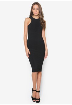 Racer Front Scoop Back Midi Dress