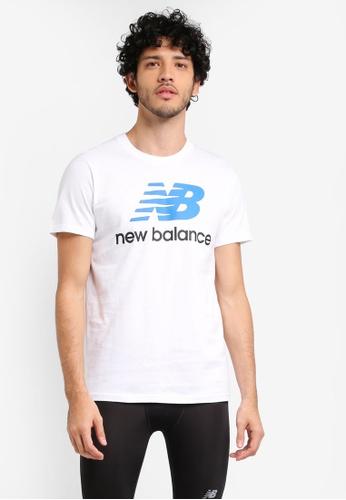 New Balance white Essentials Stacked Logo Tee NE323AA0SXNYMY_1
