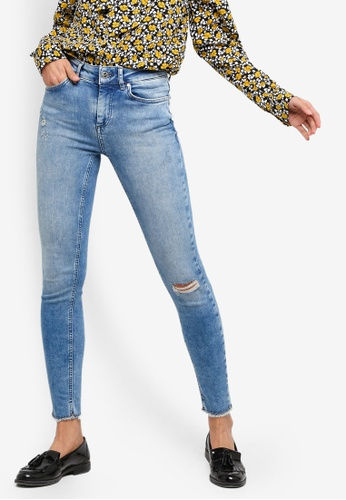 ONLY 藍色 刷破緊身牛仔褲 21D06AAC528D22GS_1