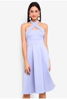 3a9204cd0ca289 Miss Selfridge blue Scuba Midi Fit And Flare Dress 48208AAA361DADGS 1