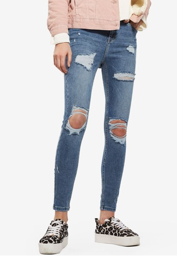TOPSHOP blue MOTO Blue Super Rip Jamie Jeans TO412AA20NFRMY_1