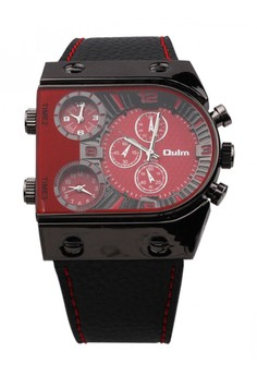 Oulm 3 Time Zone Sports Leather Military Army Watch - Red