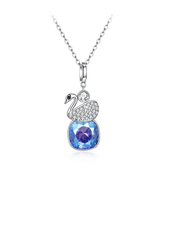 Glamorousky blue 925 Sterling Silver Elegant Swan Geometric Pendant with Light Blue Austrian Element Crystal and Necklace 3E0F4AC5719F83GS_1