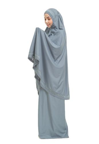 SITI KHADIJAH blue Siti Khadijah Telekung Modish Cadina in Ash Blue (Modern Fit) 288E6AAFD949ABGS_1