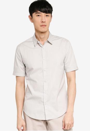 ZALORA BASICS grey Basics Slim Fit Short Sleeve Shirt 66204AA3A9084EGS_1