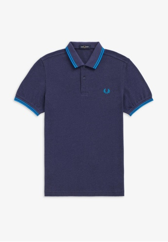 Fred Perry blue M3600 - Twin Tipped Fred Perry Shirt - (Dahlia/Blk/King) A808FAAB476E98GS_1