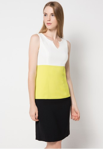 Etoile D'Elfas white Agasha - Color Block Sleveeless Dress 49743AA41398DFGS_1