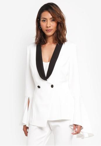 Lavish Alice white Split Bell Sleeve Fitted Blazer LA457AA0SSROMY_1