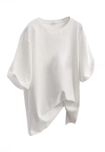 Twenty Eight Shoes white VANSA Solid Color Loose Short Sleeve T-Shirt VCW-Ts5600 EAFEFAAB3220D7GS_1