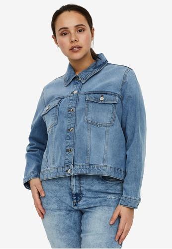 Vero Moda blue Mikky Short Denim Jacket Mix Curve 0E775AA051BDDFGS_1