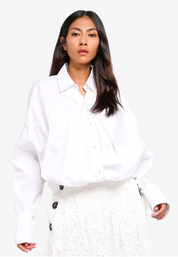 BYSI white Pearl Button Oversized Shirt 5EA74AA6389150GS_1