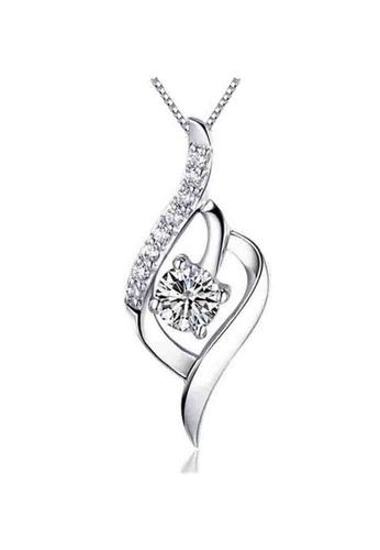 YOUNIQ silver YOUNIQ Weave 925 Sterling Silver Necklace Pendant with White Cubic Zirconia F1D85AC57E8279GS_1