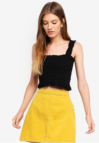 Cotton On black Louise Shirred Co Ord Top CA364AA6B91958GS_1