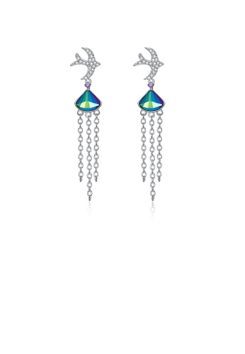 Glamorousky blue 925 Sterling Silver Cute Little Swallow Tassel Earrings with Blue Austrian Element Crystal 2B74CAC5575CD0GS_1